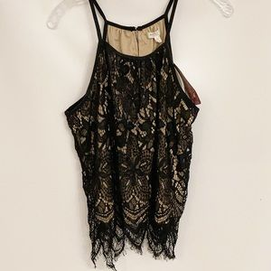 Love Fire lace black sleeveless blouse top XL NEW